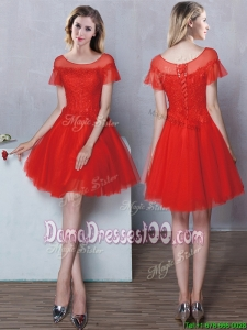 Hot Sale Laced Bodice Short Sleeves Tulle Mini Length Dama Dress in Red