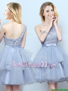 Best Selling Laced Bodice Ruffled Organza Dama Dress with One Shoulder