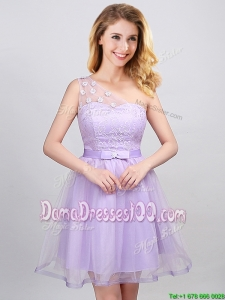 Cheap Belted One Shoulder Lavender Dama Dress with Appliques and Laced Bodice