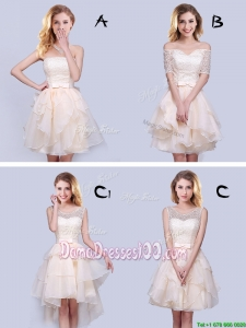 Cheap Laced Bodice and Belted Organza Champagne Dama Dress with Ruffles