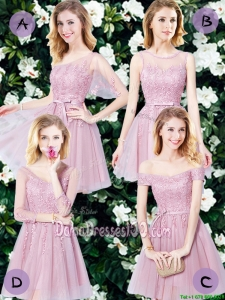 Elegant Tulle Pink Short Dama Dress with Appliques and Belt