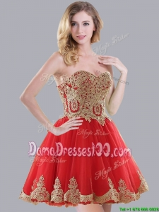 Latest A Line Sweetheart Applique Bodice Short Dama Dress in Red
