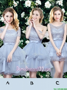 New Arrivals Ruffled Laced and Belted Grey Dama Dress in Organza