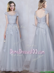 New Style Applique and Belted Scoop Grey Long Dama Dress with Cap Sleeves