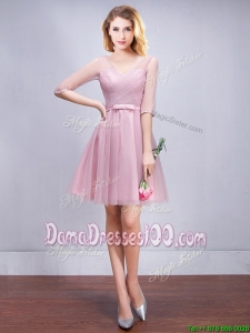 Perfect See Through V Neck Tulle Short Dama Dress with Half Sleeves