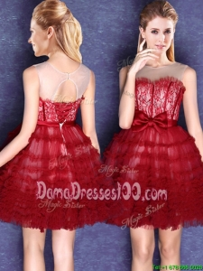 Popular See Through Scoop Wine Red Laced Dama Dress with Bowknot and Tassel