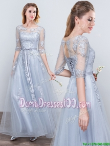 See Through Scoop Applique and Belted Grey Dama Dress with Elbow Length Sleeves
