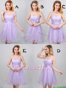 Unique Laced Bodice and Applique Lavender Short Dama Dress in Tulle