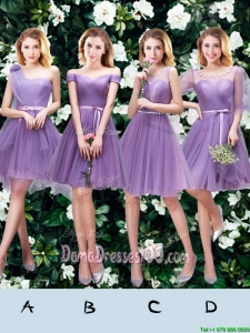 Wonderful Belted and Ruched Princess Lavender Short Dama Dress in Tulle