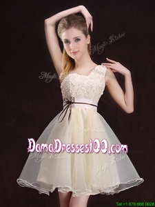 2017 Beautiful One Shoulder Belted and Applique Dama Dress in Organza