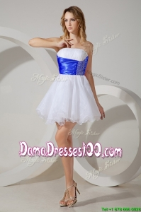 Gorgeous Beaded and Royal Blue Belted Short Dama Dress in White