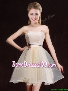 Latest A Line Organza Short Dama Dress with Lace and Belt