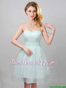 Top Seller Princess Sweetheart Laced Bodice Apple Green Dama Dress in Tulle
