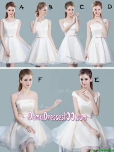 2017 Classical Bowknot Tulle Short Dama Dress in Off White