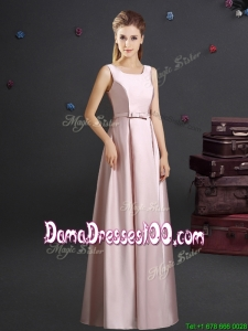 2017 Romantic Square Pink Long Dama Dress with Bowknot