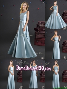 Best Selling Elastic Woven Satin Long Dama Dress in Light Blue