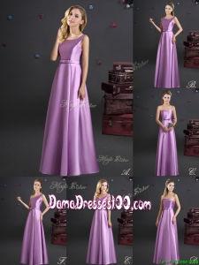 Discount Elastic Woven Satin Lilac Dama Dress in Floor Length