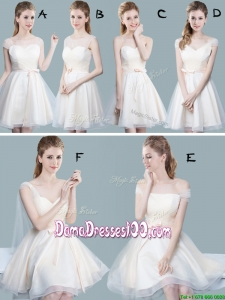 Elegant Empire Champagne Dama Dress with Bowknot and Ruching