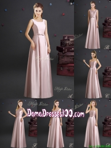 Hot Sale Empire Bowknot Long Dama Dress in Elastic Woven Satin