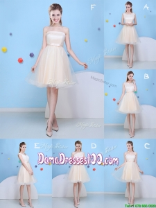 Latest Champagne Tulle A Line Dama Dress with Bowknot