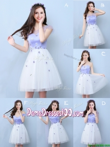 New Style Applique Tulle Short Dama Dress in White and Lavender