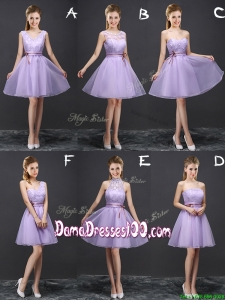 Pretty A Line Belted Lavender Dama Dress in Organza