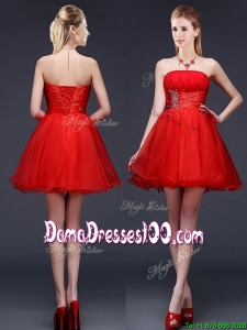 Wonderful Strapless Red Short Dama Dress with Beading and Ruching