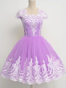 Dynamic Lavender 3 4 Length Sleeve Lace Knee Length Quinceanera Court Dresses