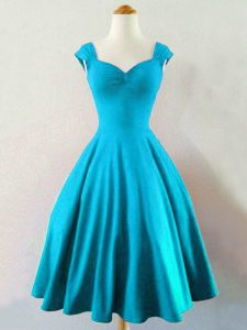 Baby Blue A-line Straps Sleeveless Taffeta Knee Length Lace Up Ruching Court Dresses for Sweet 16