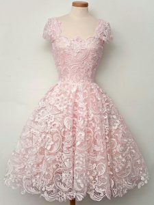 Lace Straps Cap Sleeves Lace Up Lace Court Dresses for Sweet 16 in Baby Pink