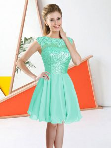 New Arrival Sleeveless Chiffon Knee Length Backless Quinceanera Court Dresses in Turquoise with Beading and Lace