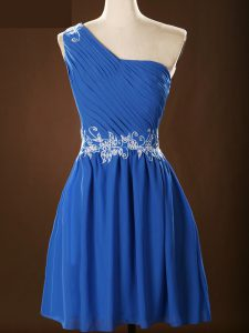 Chiffon One Shoulder Sleeveless Zipper Appliques and Ruching Dama Dress in Blue