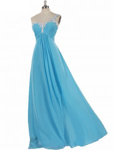 Custom Fit Aqua Blue Court Dresses for Sweet 16 Prom and Party with Appliques One Shoulder Sleeveless Zipper