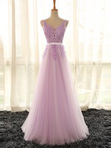 Floor Length Lilac Quinceanera Court Dresses V-neck Sleeveless Lace Up