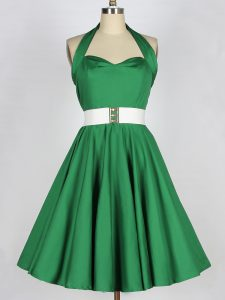 Shining Belt Dama Dress for Quinceanera Green Lace Up Sleeveless Mini Length