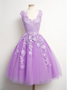 Custom Designed V-neck Sleeveless Tulle Court Dresses for Sweet 16 Appliques Lace Up