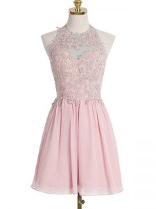 Sleeveless Chiffon Knee Length Lace Up Dama Dress in Pink with Appliques