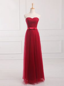 Adorable Wine Red Lace Up Sweetheart Belt Dama Dress Tulle and Lace Sleeveless