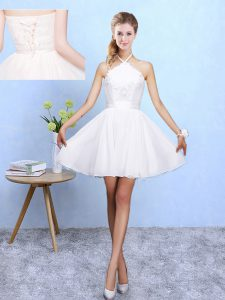 Super White Halter Top Neckline Lace and Appliques Damas Dress Sleeveless Lace Up