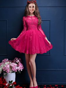 Mini Length A-line 3 4 Length Sleeve Hot Pink Court Dresses for Sweet 16 Lace Up