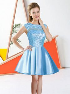 Chic Aqua Blue Bateau Backless Beading and Lace Dama Dress for Quinceanera Sleeveless
