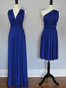 Empire Damas Dress Royal Blue One Shoulder Chiffon Sleeveless Floor Length Lace Up