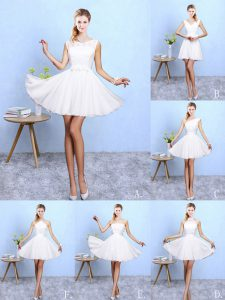 Traditional Sleeveless Lace and Appliques Lace Up Quinceanera Court of Honor Dress