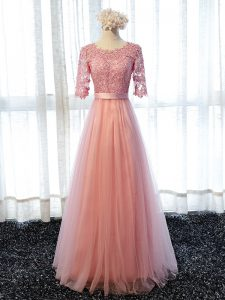Affordable Pink Lace Up Damas Dress Lace Half Sleeves Floor Length