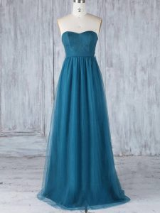 Colorful Teal Sweetheart Side Zipper Appliques Dama Dress Sleeveless