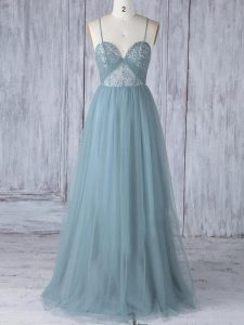 Empire Quinceanera Court Dresses Grey Spaghetti Straps Tulle Sleeveless Floor Length Criss Cross
