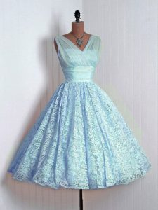 Graceful Baby Blue A-line V-neck Sleeveless Lace Mini Length Lace Up Lace Quinceanera Dama Dress