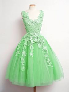Tulle V-neck Sleeveless Lace Up Lace Court Dresses for Sweet 16 in Green
