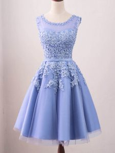 Lavender Scoop Neckline Lace Court Dresses for Sweet 16 Sleeveless Lace Up