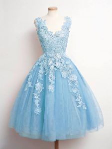 Baby Blue Tulle Lace Up Damas Dress Sleeveless Knee Length Lace
